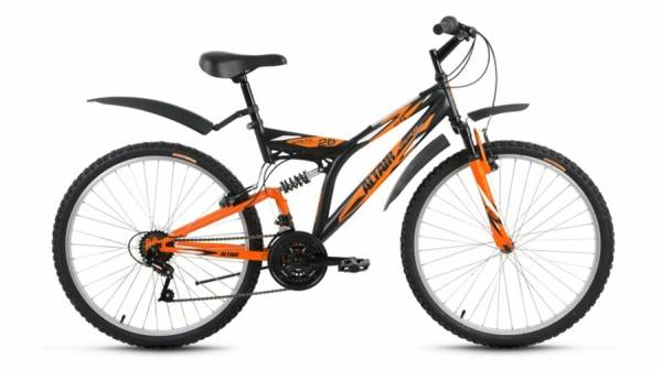 """Велосипед 26"""" Altair MTB FS 26 1.0 Черный/Оранжевый Матовый 18 ск 17-18 г"""